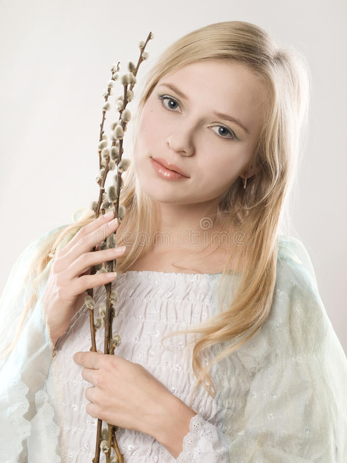 Free Girl With Pussy-willow Royalty Free Stock Photography - 13138897