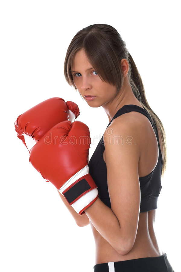 Free Girl With Red Boxing Gloves Royalty Free Stock Photography - 5311747