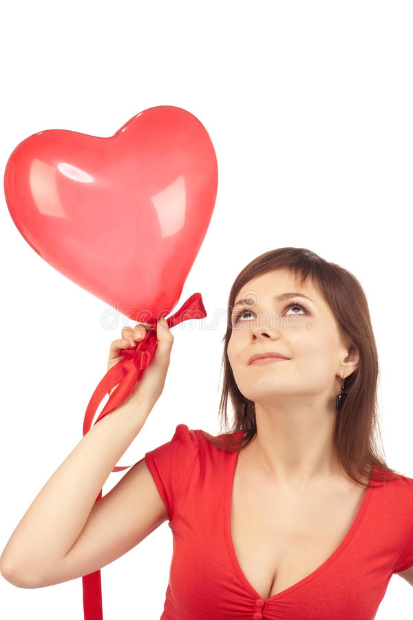 Free Girl With Red Heart Balloon Stock Photo - 12686870