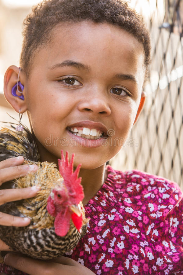 Free Girl With Rooster Royalty Free Stock Images - 53929889