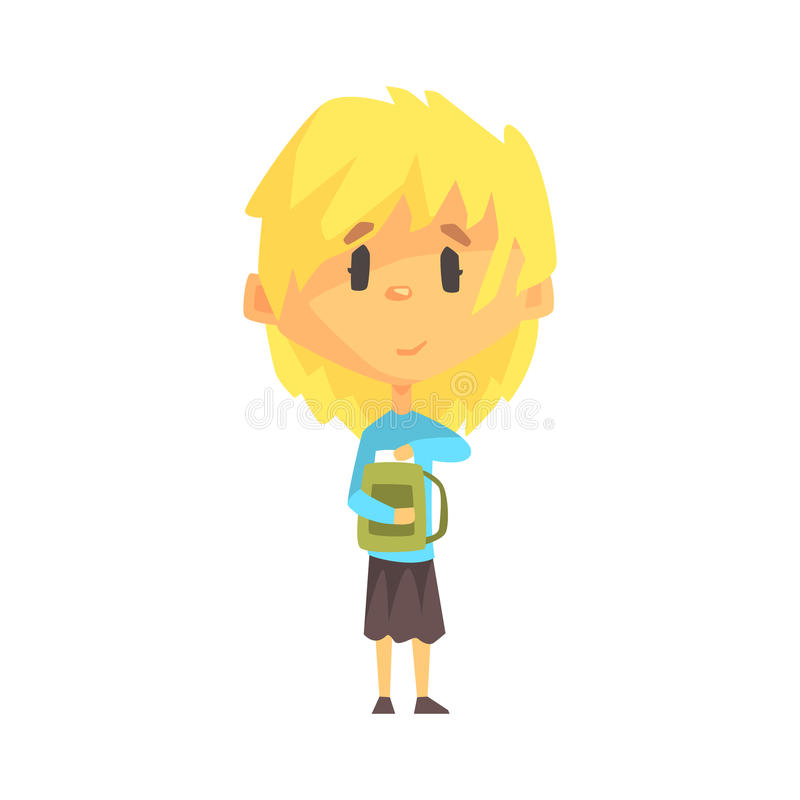 Free Girl With Short Blond Hair And Backpack, Primary School Kid, Elementary Class Member, Isolated Young Student Character Stock Photography - 89437302