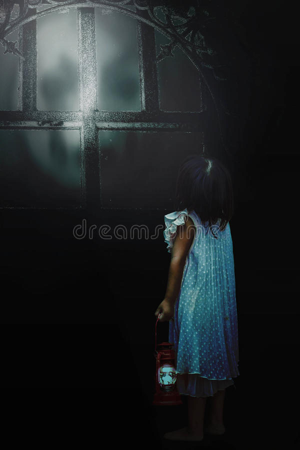 Free Girl With The Shadow Demons Outside. Royalty Free Stock Photos - 78657288