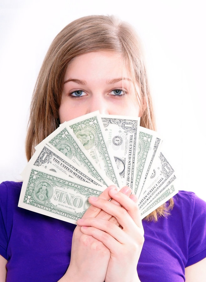 Free Girl With US Dollars Royalty Free Stock Photo - 8720385