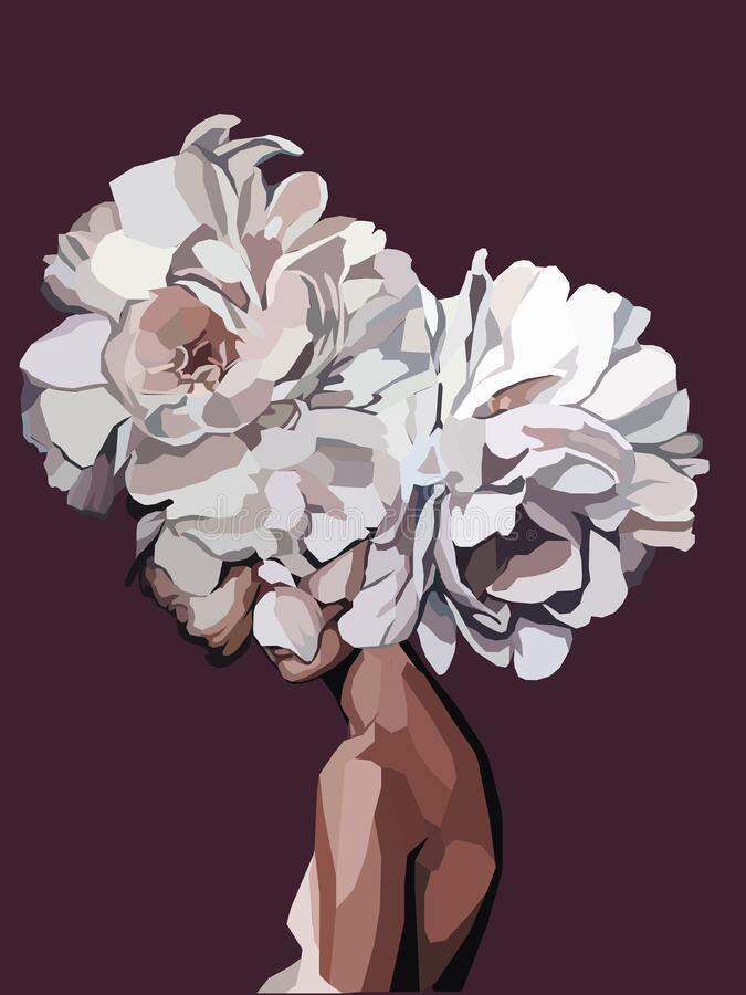 Free Girl With White Flowers INSTEAD Head Abstract Illustration Royalty Free Stock Photo - 179502505