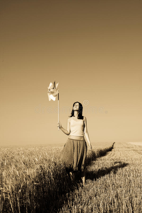 Free Girl With Wind Turbine At Wheat Field Stock Image - 11655921