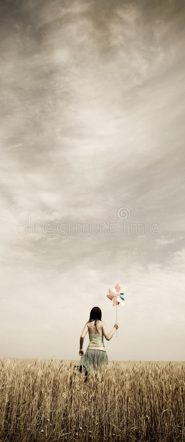 Free Girl With Wind Turbine At Wheat Field. Photo In V Royalty Free Stock Images - 11644729