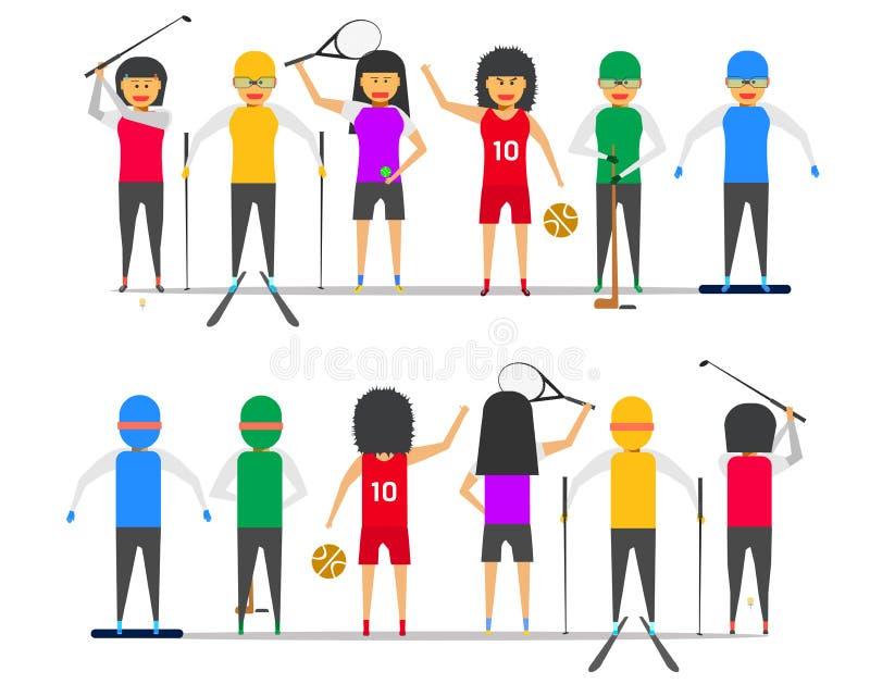 Girl woman group friendship sport golf tennis basketball ski snowboard ice hockey front-back view vector illustration ep10 stock illustration