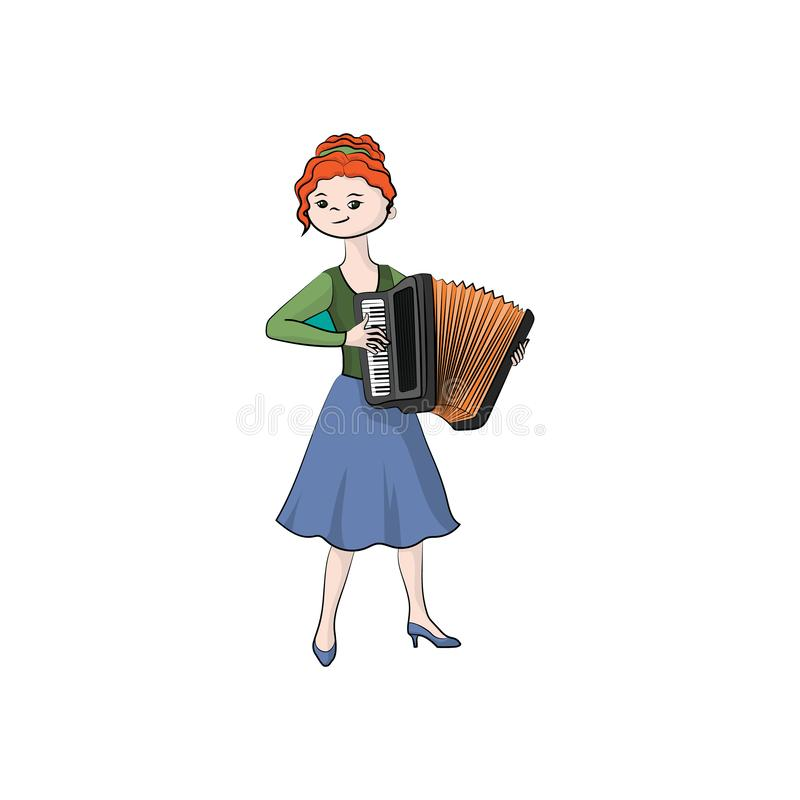 Girl woman plays the accordion. Vector color royalty free illustration