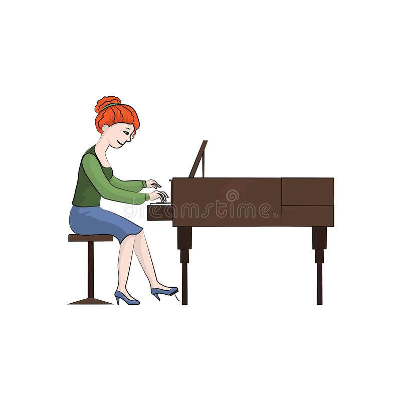 Girl woman plays the piano. Vector color illustration. The girl woman plays the piano. Vector color illustration royalty free illustration