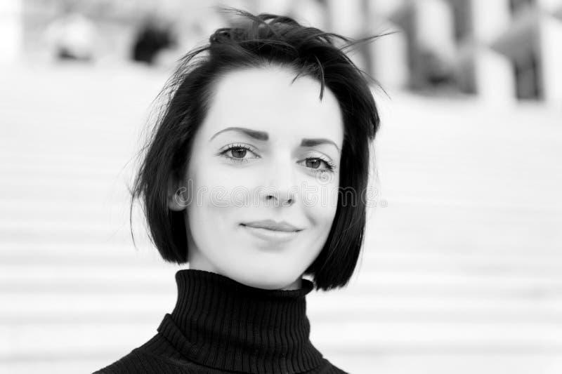 Girl or woman smile with natural makeup face stock photos