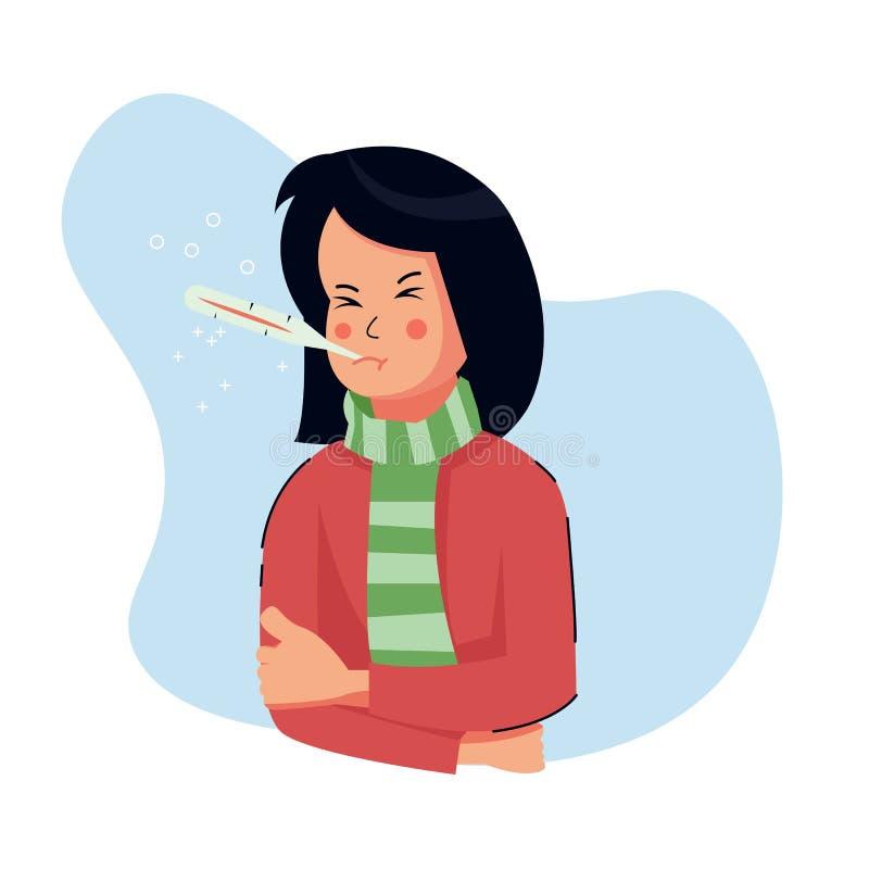 Cute Girl Feeling Cold Vector Illustration Stock-Vektorgrafik (Lizenzfrei)  622170674
