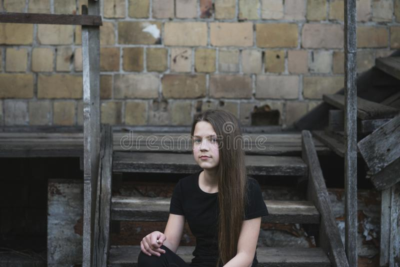 Girl On Stairs Stock Image Image Of Decay Contrast 115925057