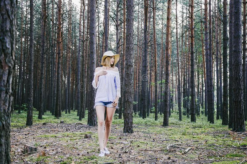 Girl in the woods. stock images