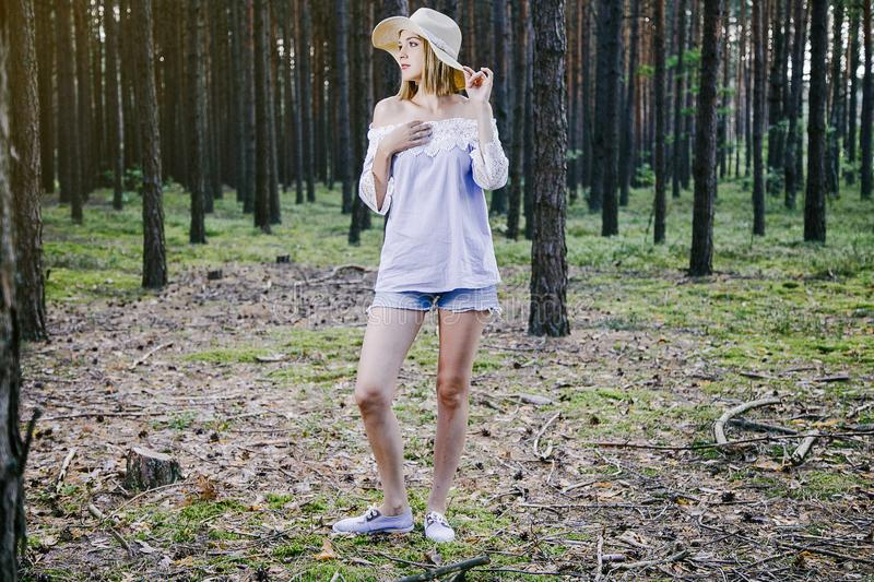 Girl in the woods. royalty free stock photos