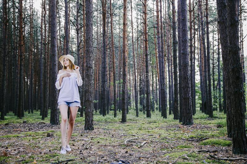 Girl in the woods. stock photos