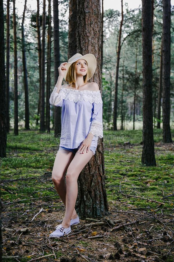 Girl in the woods. stock photography