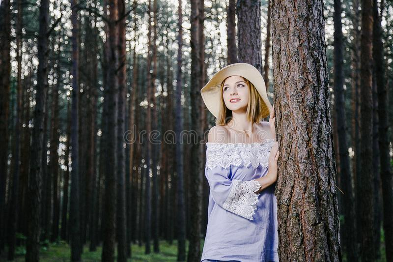 Girl in the woods. stock image