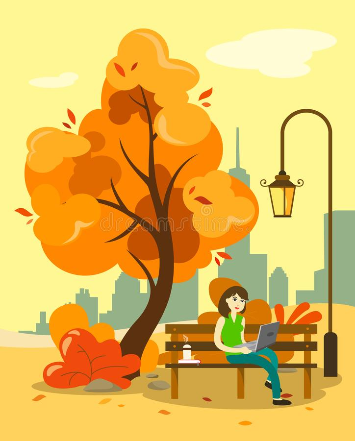 A girl is working at a computer in an autumn park on a bench with hot coffee. Behind the view of the city and skyscrapers. Illustr vector illustration