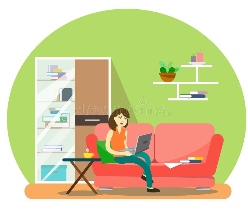 A girl is working at a computer at home on a sofa with a cup of coffee. Illustration in the style of flat stock illustration