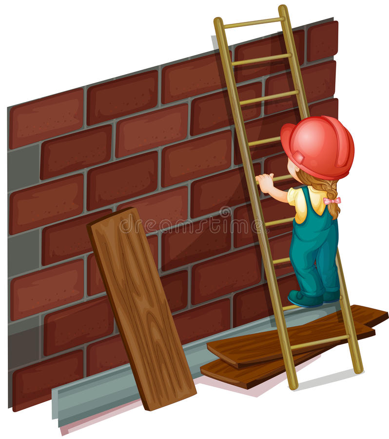 Girl working at the construction site. Illustration stock illustration