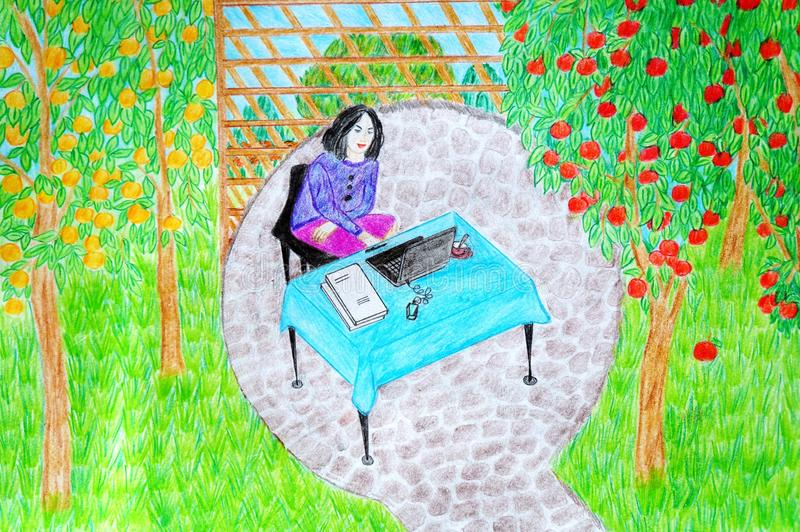 The girl is working in the garden!. Work in garden, blue tablecloth, apple orchard, table, red, yellow apples, outdoor, summer, girl, woman, laptop, quite place