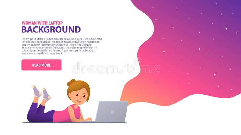 Girl working with laptop. Shopping, learning, communication, e-commerce royalty free illustration