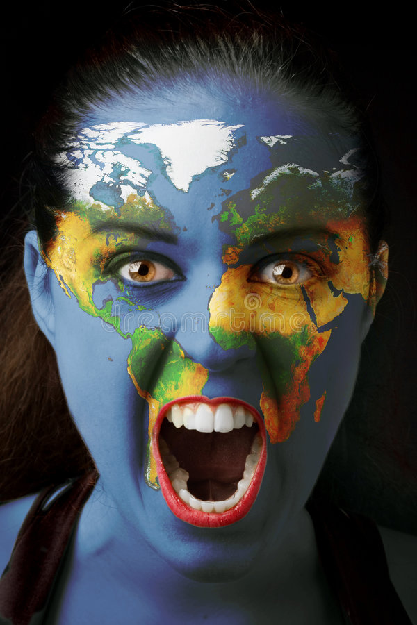 Girl with world map. Painted on her face screaming