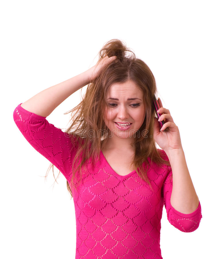 Download Girl Worrying With Telephone Stock Photo - Image: 23039344