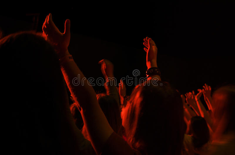 Girl Worshipping at Christian Event stock photography