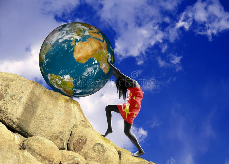 The girl, wrapped in the flag of China, raises planet Earth uphill royalty free illustration