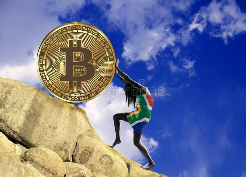 The girl, wrapped in the flag of South Africa, raises a bitcoin coin up the hill royalty free illustration