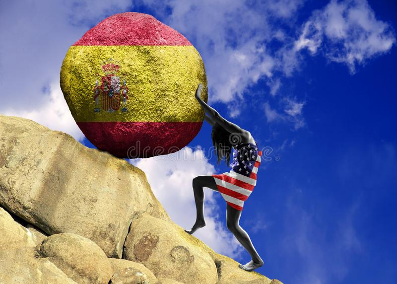 The girl, wrapped in the flag of United States of America, raises a stone to the top in the form of a silhouette of the flag of royalty free illustration