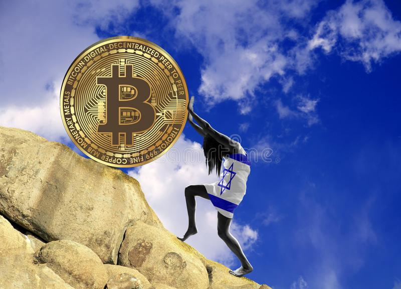 A girl wrapped in a Israel flag raises a bitcoin coin up the hill vector illustration