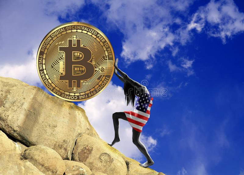 A girl wrapped in a USA flag raises a bitcoin coin up the hill stock illustration