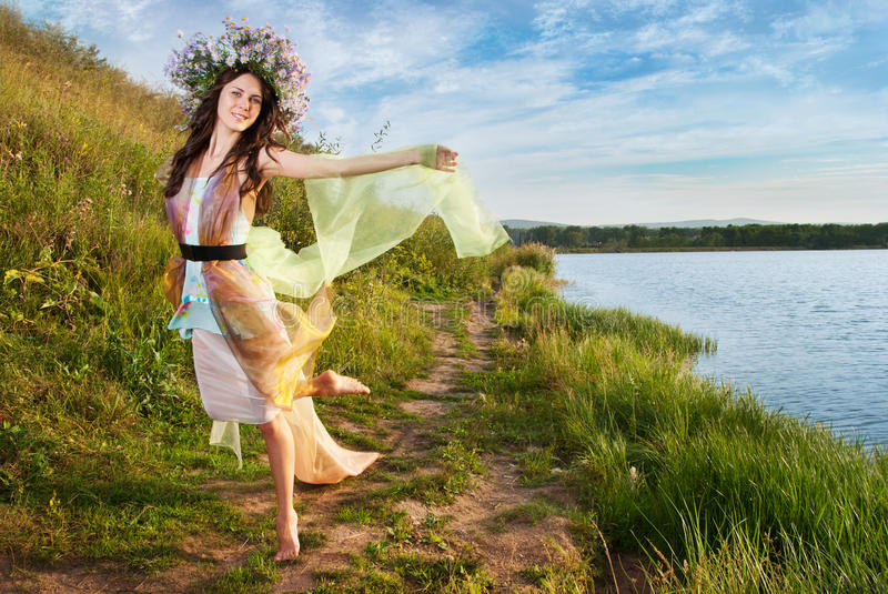 Download The girl in the wreath stock image. Image of female, outdoor - 26240285