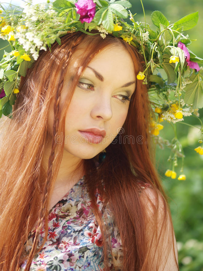 Girl with a wreath royalty free stock photos