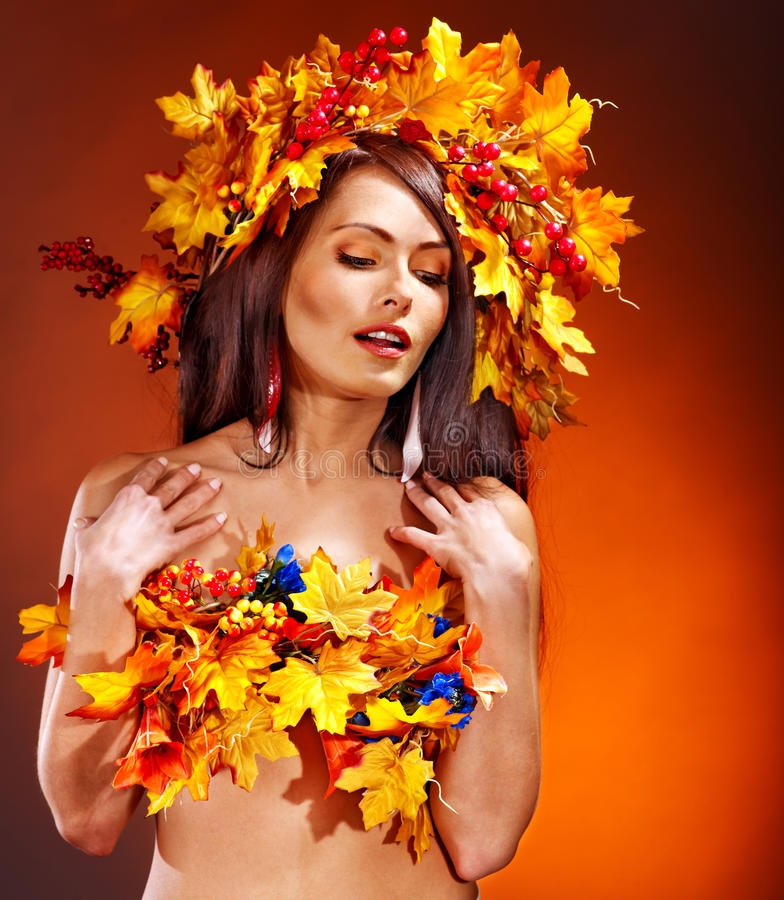 Download Girl With A Wreath Of Autumn Leaves On The Head. Stock Photos - Image: 26947403