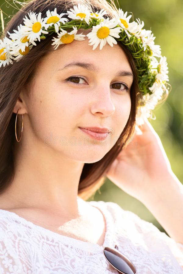 Girl in wreath royalty free stock photography