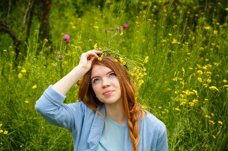 Girl in a wreath of wildflowers. Smiling royalty free stock images