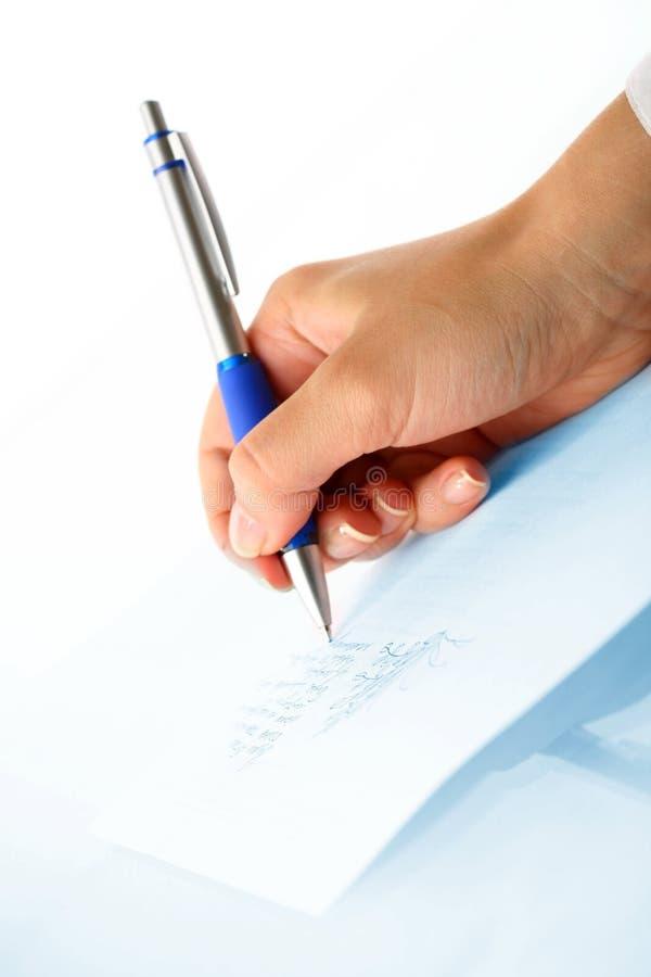 Girl write stock images