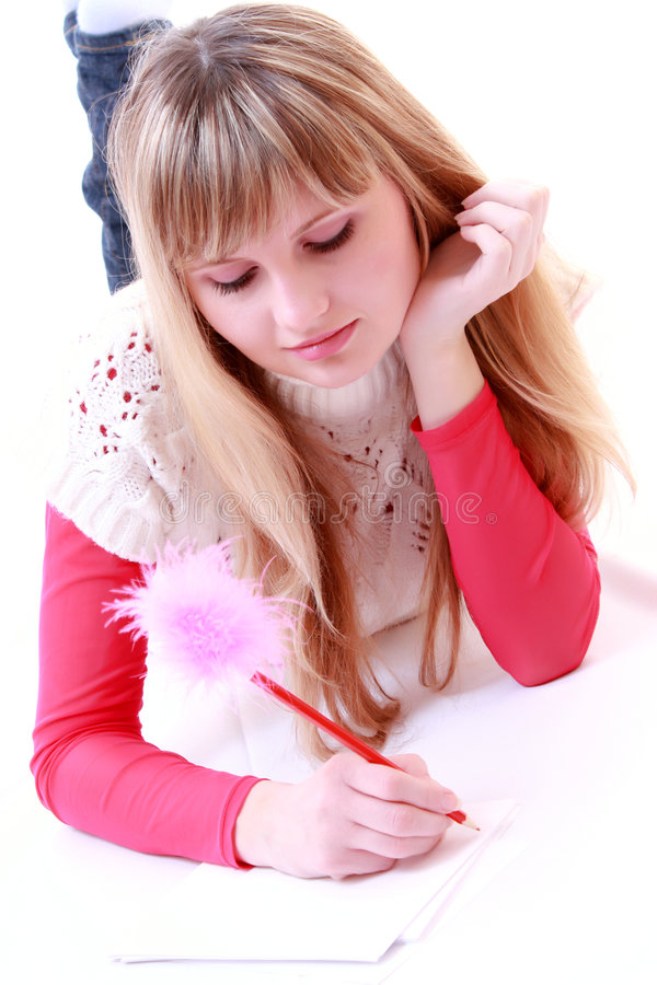 Girl write poetry stock photography