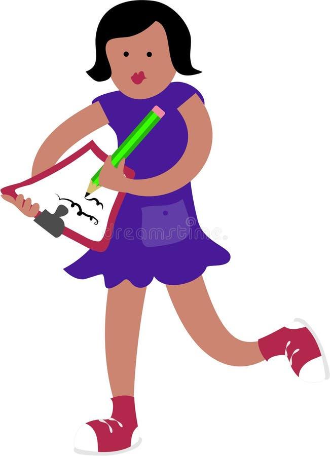 Girl Writing royalty free illustration