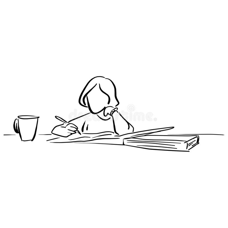 girl writing on big notebook with a cup of tea vector illustration sketch doodle hand drawn with black lines isolated on white ba royalty free illustration