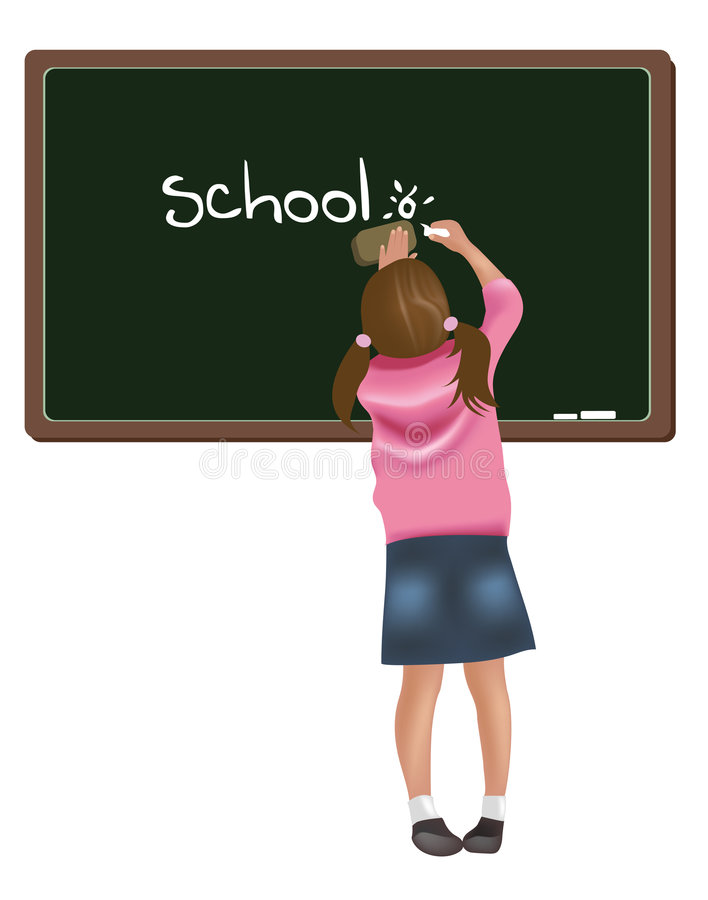 Girl Writing On Blackboard Royalty Free Stock Image