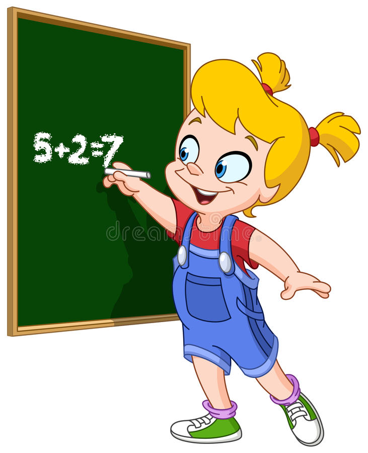 Girl writing on blackboard stock illustration