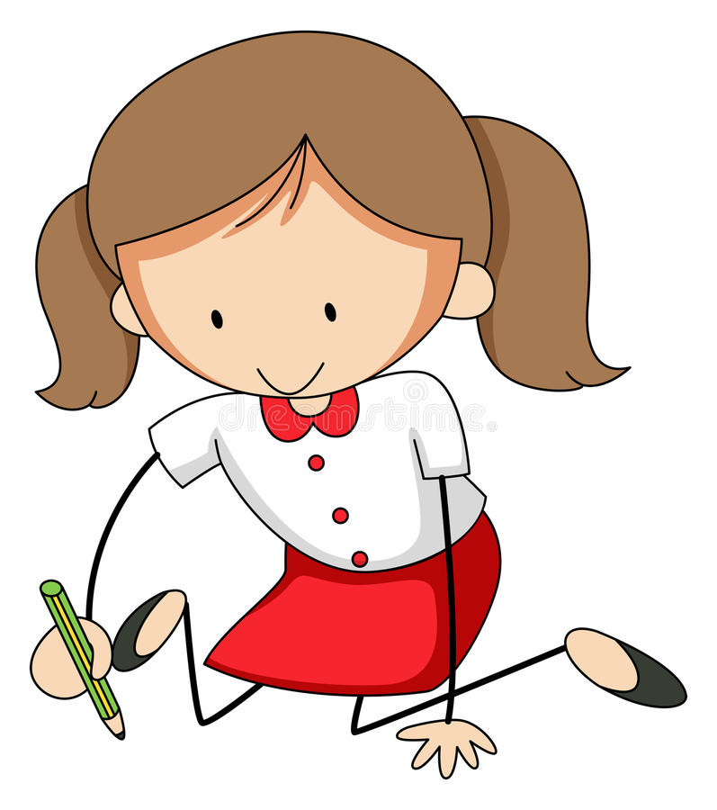 Girl writing stock illustration