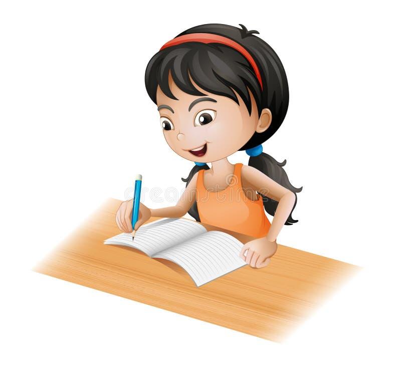 A girl writing royalty free illustration