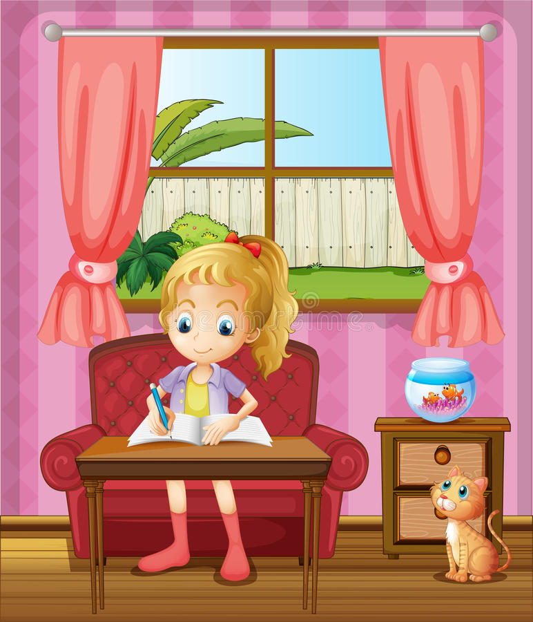 Download A Girl Writing Inside The House With A Cat Stock Illustration - Image: 33691559
