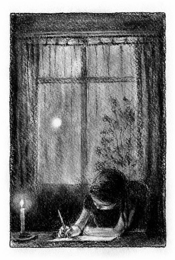 Girl writing the letter. Little girl is writing a letter at the desk, night in the window behind stock illustration
