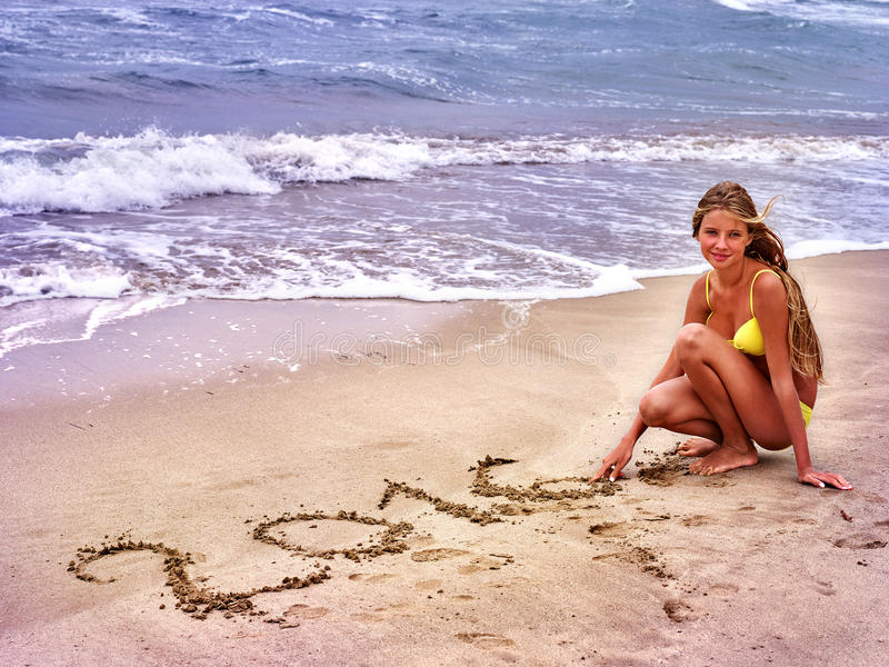 Girl written in sand 2016 royalty free stock photos